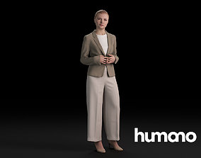 Humano Casual Woman Standing and looking 0419 3D