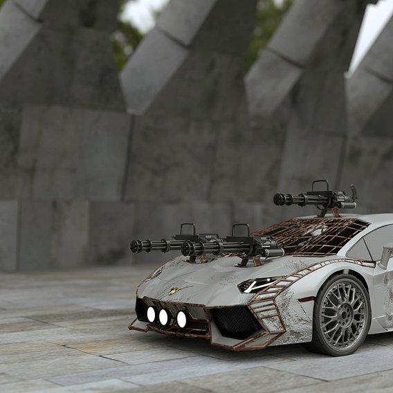 Lamborghini with Arsenal mounted