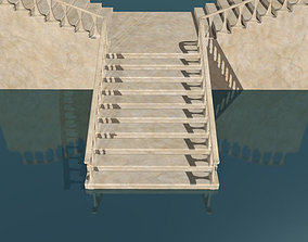 3D asset Marble staircase low poly