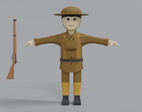 3D asset Low Poly Cartoon WWI British Soldier