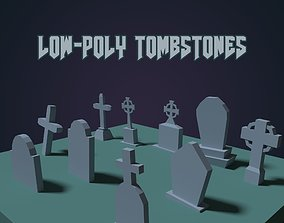 3D model Tombstones Low Poly Assets