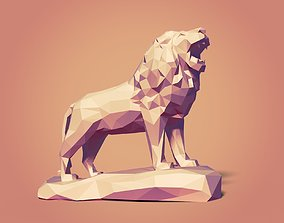 Low Poly Lion Statue Ready for 3D Printing 3D model