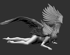 Woman angel character sculptures poses 3D model