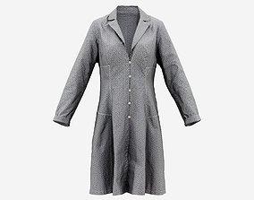 3D asset Grey Pattern Dress Buttoned