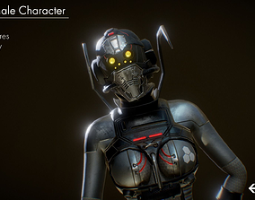 Sci-Fi Female Unit 3D asset