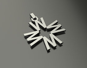 Pinwheel Letter W Necklace 3D printable model