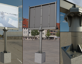 Large LED Display With Concrete Foundation for 3D asset