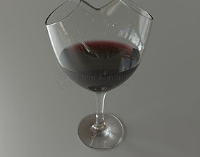wine glass heart with double neck 3D model
