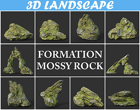 Low poly Mossy Rock Formation Pack 191221 3D model