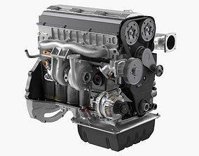 3D Inline 6 Cylinder Car Engine