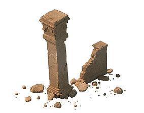 3D sert ancient battlefield - Broken Wall pillar 01