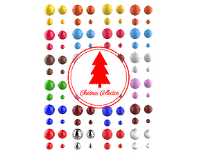 Christmas Tree Decoration Ball Collection 3D model