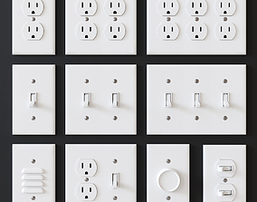 3D model US electrical outlets and switches