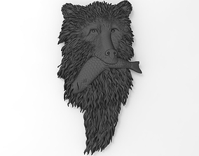 3D print model Bear with fish Bas relief