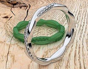 3D printable model Wedding Petite Twisted Diamond Ring