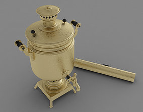 Russian Samovar teapot model gold game-ready