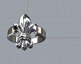 Anillo flor de liz 3D