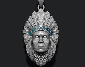 3D print model Native American Indian man pendant