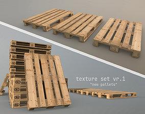 3D model low-poly Cargo Wood Pallets EUR EPAL vr-1