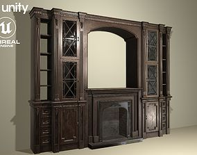 3D model Classic cabinet with fireplace