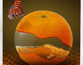 3D asset Canvas Art Surreal Orange Fruit