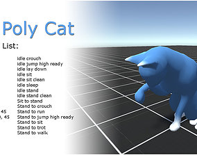 Cat low poly - animated 3D model animated