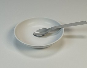 3D model Plate and spoon