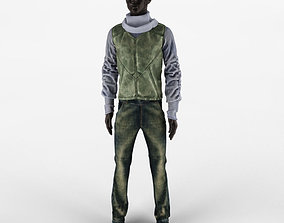 3D mannequin men in shirt and jeans