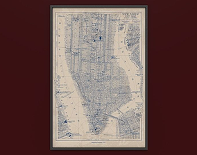 3D asset Drawing old New York City Map in frame