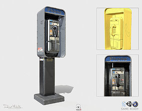 New York Payphone Booth PBR 3D asset