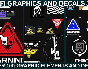 3D model Scifi Graphics and Decals Vol3