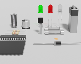 3D model Electronic components pack diode