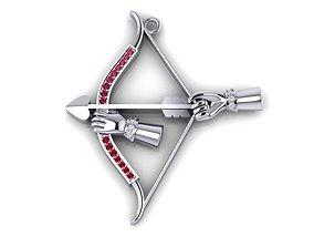 3D printable model bow and arrow pendant
