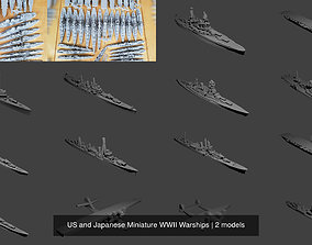 3D US and Japanese Miniature WWII Warships battleship