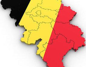 3d Political Map of Belgium architectural