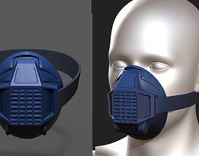 Gas mask respirator blue plastic 3D asset