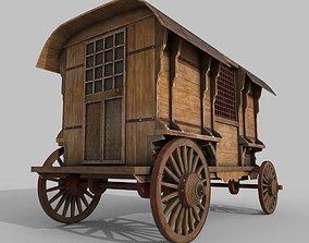 Wooden Western Wagon 3D model