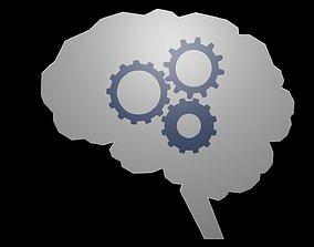 3D asset Low poly brain symbol 38