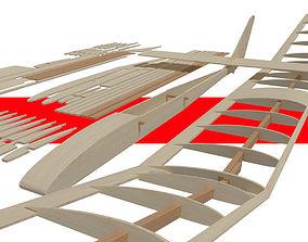 3D model Balsa wood glider parts jet