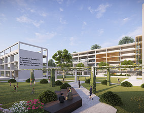 exterior 3D Neighborhood School