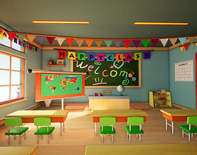 3d Class room - 3D model for Cartoons