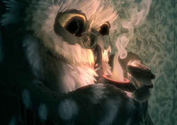Owl with Pipe