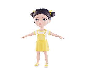 Cartoon girl brunette in yellow sundress 3D asset