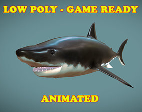 Low poly Great White Shark Fish Animated - Game 3D model