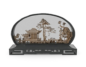 Vintage Asian Carved Cork Diorama Shadow Box 3D
