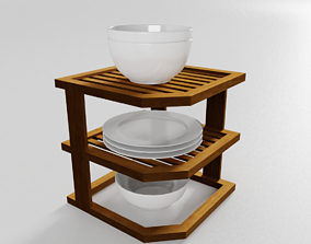 Small Corner Shelf with Dishes for the Kitchen 3D