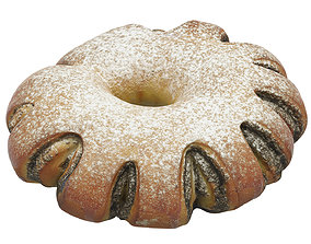 Poppy seed cake 02 with powdered sugar 3D model