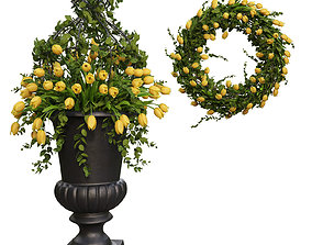 Vase with flowers and wreath 3D