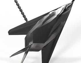 3D print model F117 Black Mat Steel Pendant
