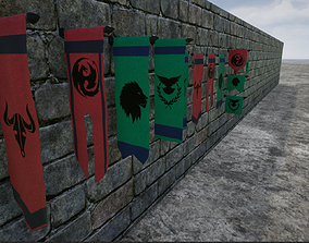3D asset low-poly Hanging Medieval Banners